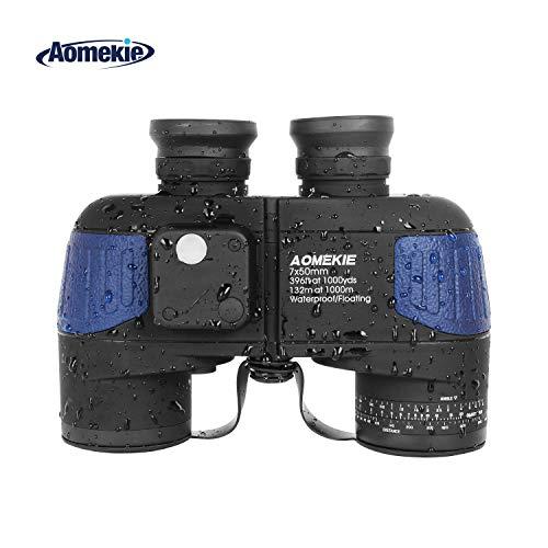 Aomekie 7X50 Marine Binoculars for Adults, Military Binoculars Waterproof Fogproof with Compass Rangefinder BAK4 Prism Lens for Navigation,Boating,Fishing,Water Sports,Hunting (Army Blue)