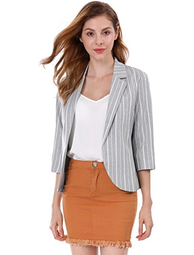 Allegra K Women's Striped 3/4 Sleeves Open Front Notched Lapel Blazer S Gray