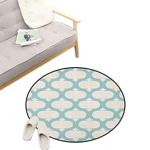 Aqua Round Area Rug Non-Slip ,Mesh Pattern with Curvy Figures Ancient Arabic Lattice Design Old Fashioned Pastel, Living Room Bedroom Coffee Table 23
