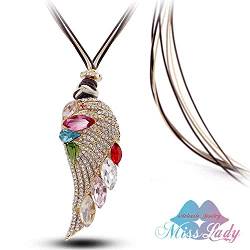 adef73337 CHITOP Rose Gold Color Crystal Luxury Feather Angel Wings Long Necklaces  Pendants Fashion Jewelry for Women
