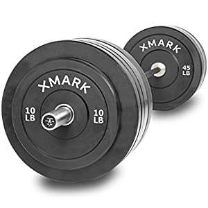 Deadlift Package Featuring The XMark Voodoo Commercial Olympic Bar, Hard Chrome with Black Manganese Phosphate Shaft, 185,000 PSI Plus 280 lbs. of XMark Olympic Bumper Plates