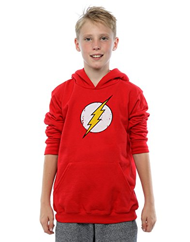 DC Comics Boys Flash Distressed Logo Hoodie 7-8 Years Red -