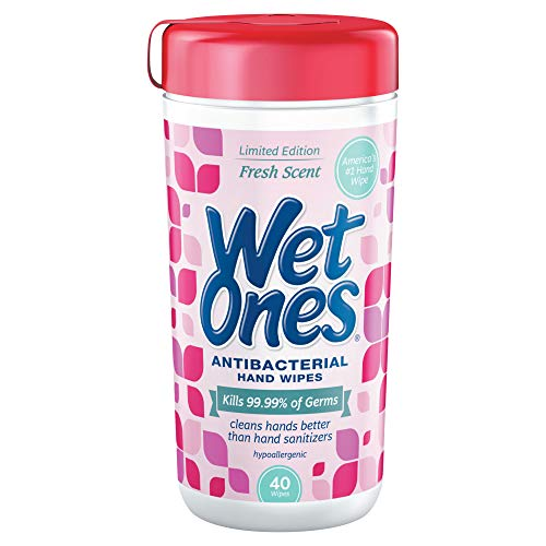 - Wet Ones 04703 Antibacterial Moist Towelette, Cloth, 5 3/4 x 7 1/2, White, 40/Dispenser