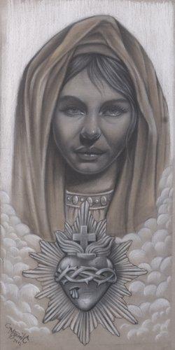 Amazoncom Maria Miguel Camarillo Virgin Mary Sacred Heart Drawing
