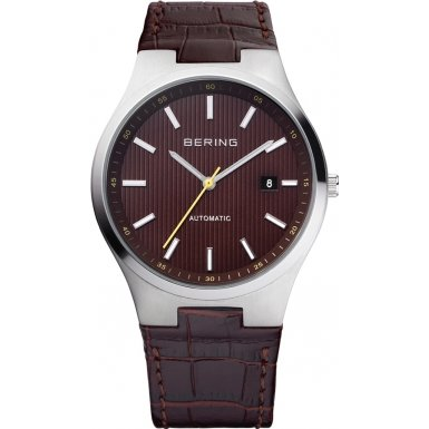 BERING Time 13641-505 Men's Automatic Collection Watch with Leather Band and scratch resistant sapphire crystal. Designed in Denmark. 13641-505
