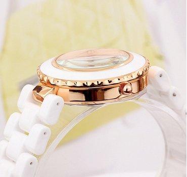 Enreach Crystal-accented Eiffer Tower Ceramic Bracelet Watch J711 (Rose Gold)