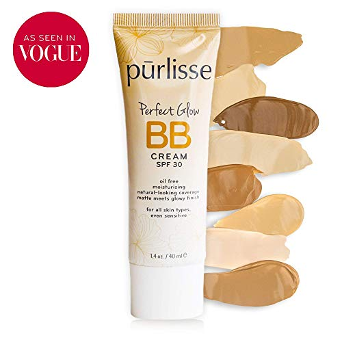 purlisse BB Tinted Moisturizer Cream SPF 30 - BB Cream for All Skin Types - Smooths Skin Texture, Evens Skin Tone - Light Medium, 1.4 Ounce
