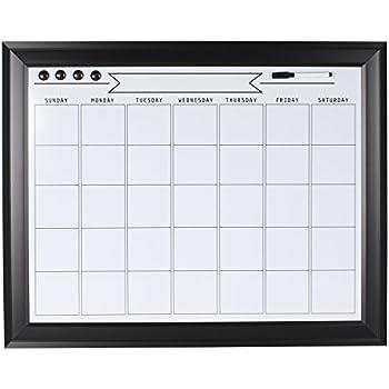 DesignOvation 209406 Bosc Framed Magnetic Dry Erase Monthly Calendar Wall Organization Board, Black