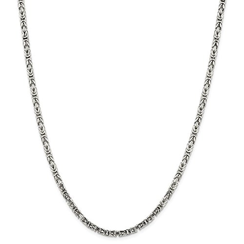 - Mia Diamonds 925 Sterling Silver Solid 3.25mm Byzantine Necklace Chain -24