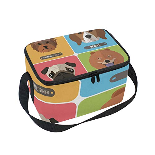 Cute Dog Head Pug Chow Beagle Yorkshire Terrier insulated cooler bag Durable ice pack