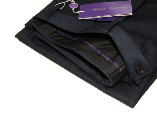 Ralph Lauren Purple Label Men Navy Pleated Cotton Dress P...
