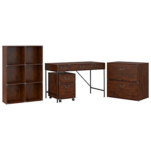 kathy ireland Home by Bush Furniture Ironworks 48W Writing Desk, 2 Drawer Mobile File Cabinet, 6 Cube Bookcase, and Lateral File Cabinet in Coastal Cherry