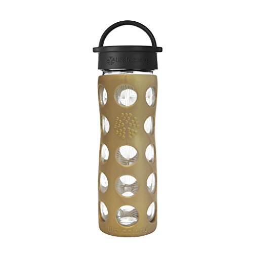 Lifefactory 16-Ounce BPA-Free Glass Ion Holiday Water Bottle with Leakproof Classic Cap and Silicone Sleeve, Golden Dew