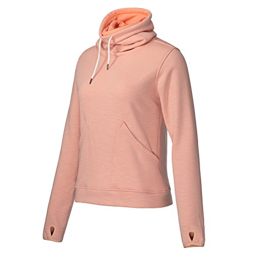 - Helzkor Women's Long Sleeve Fleece Lined Pullover Cowl Neck Casual Sweatshirt With Thumbholes and Pockets - Pink, XL