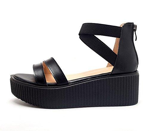 Amoonyfashion Femmes Matériau Souple Open-toe Chaton-talons Fermeture À Glissière Sandales Solides Noir