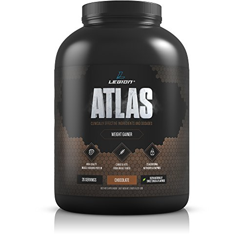 Legion Atlas Weight Gainer Supplement - Healthy Meal Replacement Shake with Grass Fed Whey Protein Isolate & Micellar Casein, Naturally Sweetened & Flavored, Chocolate, 5.22 (Whey Gold Meal Replacement)