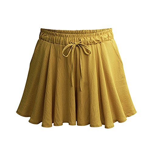 Women's Elastic Waist Casual A Line Culottes Wide Leg Shorts with Drawstring Ginger Yellow Tag L-US 4-6