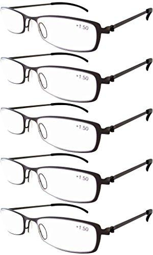 Eyekepper 5-Pairs Stainless Steel Frame Reading Glasses Gunmetal (Gunmetal Reading Glasses)