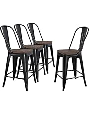 Yaheetech 24 inch Metal Bar Stools Counter Kitchen Dining Stools Chairs with Wood Seat High Backrest Industrial Height Stool Modern Black Set of 4