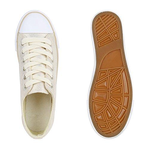 Glänzende Damen Sneakers Glitzer Metallic Sneaker Low Pailletten Flats Turnschuhe Leder-Optik Flandell Creme Weiss