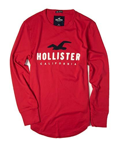 Hollister Men's Long Sleeve Tee T Shirt (Red 0419, XL) from Hollister