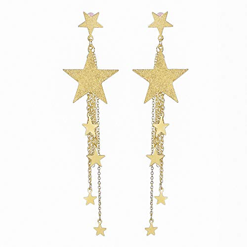 - LODDD Shooting star Rhinestone Long Tassels Drop Hook Dangle Earrings Gold Silver Women Fashion Earrings