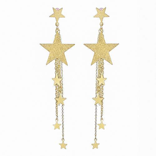 Dangle Tassel Earring Multiple Chain Link Star Long Chain Earrings Shiny Bling Ear Nail Girl Jewelry Gift for Women (gold)