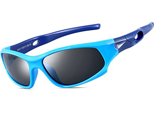 ATTCL Kids Hot TR90 Polarized Sunglasses Wayfarer Style For Boys Girls Child Age 3-10 1P5025 bule