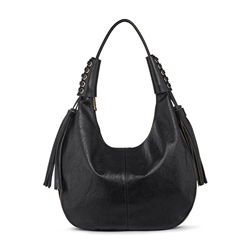 Hobo Handbag Shoulder Bag Women PU Leather Top Handle Bags Tote Purse Large Black + Katloo Nail Clipper by Katloo