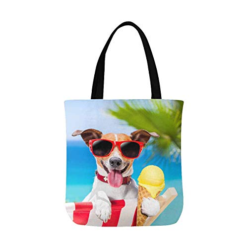 InterestPrint Funny Jack Russell Dog Eating Ice Cream on Summer Beach Canvas Tote Bags Reusable Shopping Bags Grocery Bags Washable Bags for Women Men Kids (Ice Cream Dog Eating)