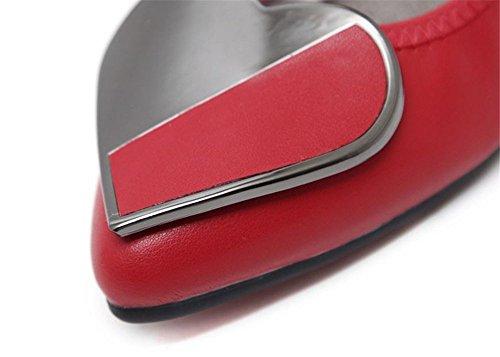 Foldable Rhinestone Flats Red Women's Ballet Wedding Shoes Slip On xqXSCESw