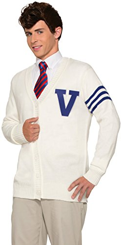 Letter E Fancy Dress Costumes (Forum Novelties Men's 50's Varsity Sweater XL, White, X-Large)