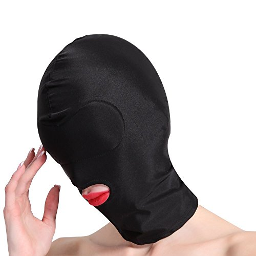 HOT TIME Unisex Lycra Spandex Zentai Hood Mask (L-Large, Black-Open Mouth)