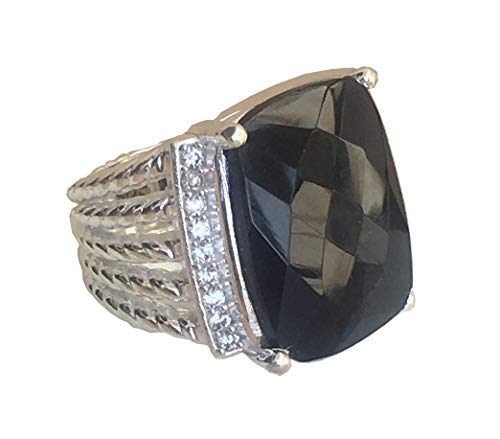 Gempara Designer Inspired Twisted Cable 20x15mm Black Onyx Wheaton Ring with Simulated Diamonds (7)