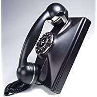 Modern Cool Decorate 1930s Black Classic Old Model Timey School Antique Vintage Novelty Funky Looking Style Retro Touch Tone Dial Fashion Nostalgic House Office Landline Telephone Reproduction Replica