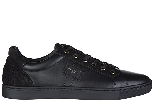 Dolce & Gabbana Men's Shoes Leather Trainers Sneakers London Black US Size 9.5 - Gabbana Sneakers And Men Dolce For