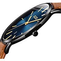 Mens Watch Slim Thin Blue Dial,Luxury Brand Leather Watches for Men,Automatic Calendar Thin Watches,Japanese Quartz Business Men's Watch Waterproof Dress Date Wrist Watch with Black Case
