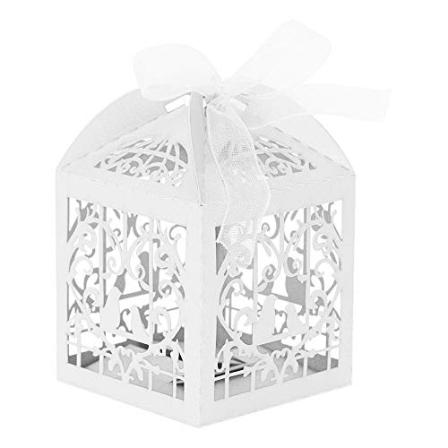 Zerodis 150Pcs Wedding Candy Boxes Hollow Out Birds Wedding Sugar Chocolate Boxes for Wedding Birthday Favor(White)