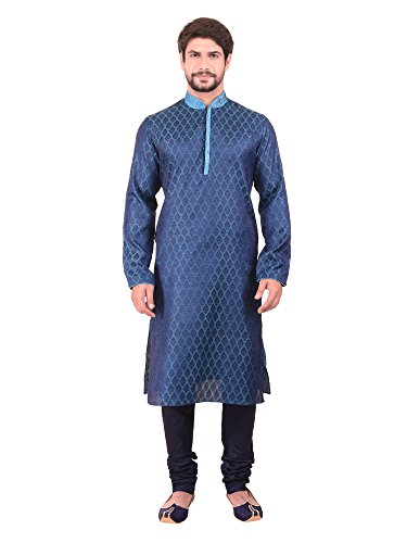 Manyavar Men's Regular Fit Banded Collar Designer Kurta & Churidar Set (Blue, Medium) ()