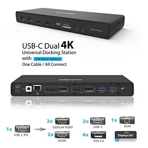 USB C Dual 4K Dock w/ 100W Power Adapter: Single 5K@60Hz, Dual Display 4K@60Hz, 2 HDMI, 2 DisplayPort, 4 USB A 3.0, 2 Type C, Ethernet, Audio Mic Jack for Mac OS & Window PC (Thunderbolt 3 Compatible)