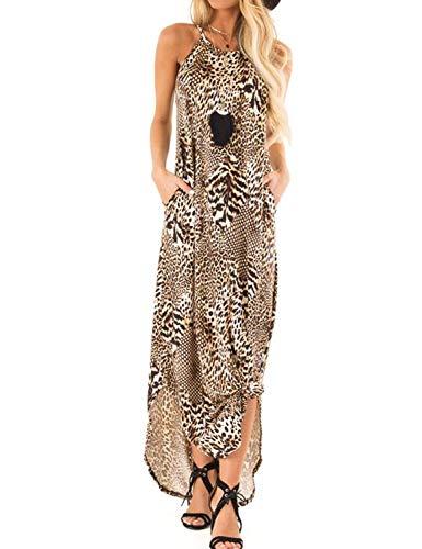 Ratilove Women's Summer Leopard Print Maxi Dress Halter Split Hem Casual Cute Sleeveless Long Dresses with Pockets S,Multicoloured