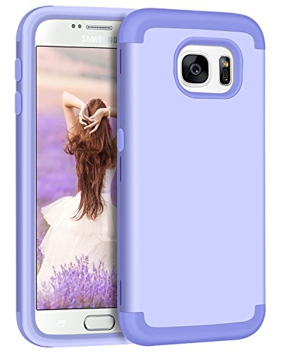 Galaxy S7 Case, Samsung S7 Case for Girls, BENTOBEN 3 Layers Slim Hybrid Heavy Duty Shockproof Hard PC Cover Soft Silicone Rubber Bumper Full Body Protective Phone Cases for Samsung Galaxy S7 Purple