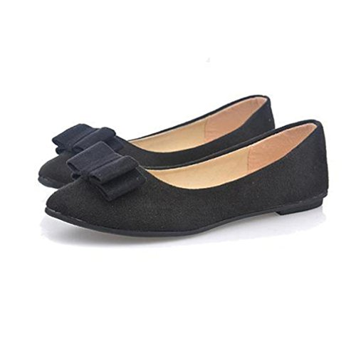 Tie Boat Shoes (GBSELL Women Ladies Ballet Flats Bow Tie Slip Shoes Boat Work Shoes (Black, 8.5))