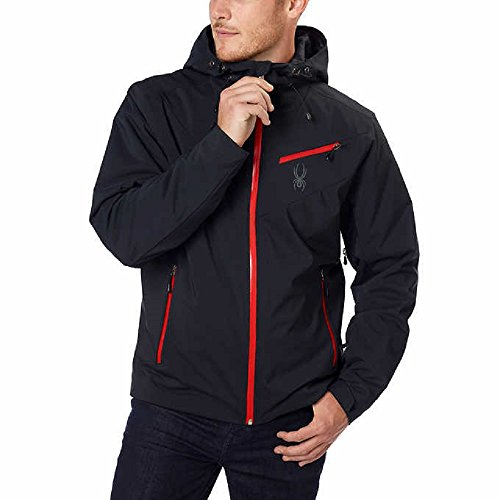 Spyder Men's Fanatic Jacket, Black/Polar/Red, Large (Spyder Men Ski Jacket)
