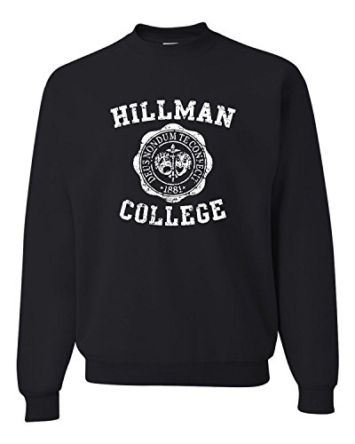Go All Out Screenprinting Medium Black Adult Hillman College Retro Sweatshirt Crewneck (Jumper Retro)