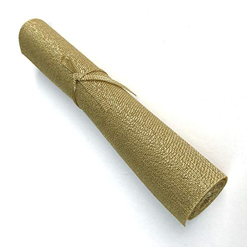 CAIT CHAPMAN HOME COLLECTION Holiday Woven Texture Design PVC Rectangular Heat Insulation Texteline Table Runner (Gold)