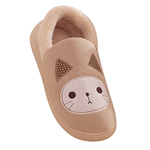 SGoodshoes Unisex Adulto Zapatillas Otoño Invierno Suave Felpa Cartoon Gato Algodón Zapatos Amarillo