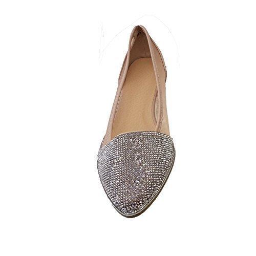 Transparente Charol Albaricoque Diamante Punta Ballet Boutique Zafiro Mujer Baja Zapatillas En Metálico De Malla wYxwFqn1a