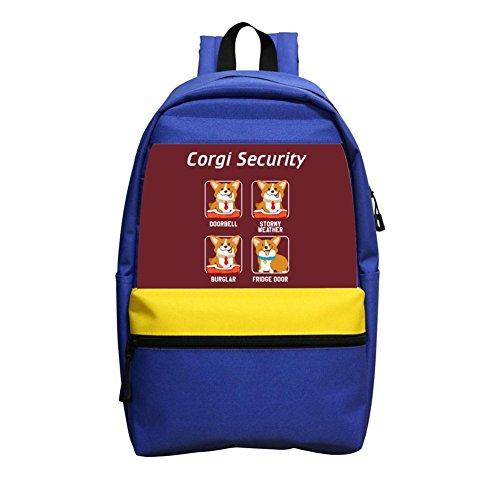 B1TS Fashion Corgi Security Kids School Bag Cool Child Backpack For Girls & Boys & Student Blue