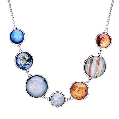 Galaxy Glass Stone - QILMILY The 7 Planet Necklace Astronomy Necklace with Planets Double-Sided Planet Necklace Handmade Gift